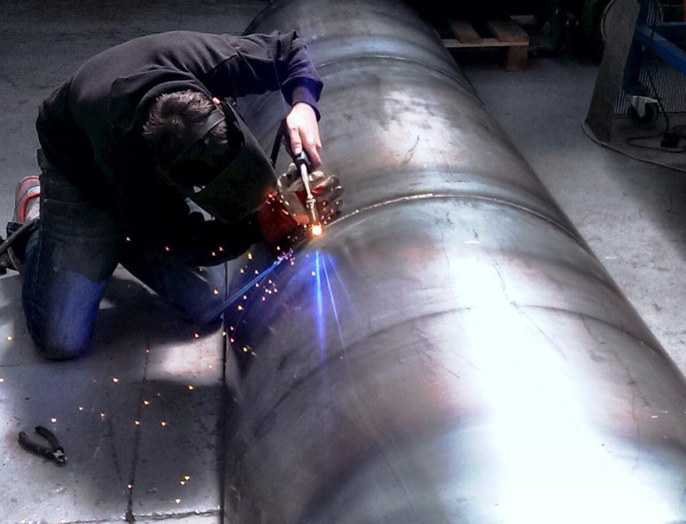 Chris gouch welding a large custom built bbq smoker