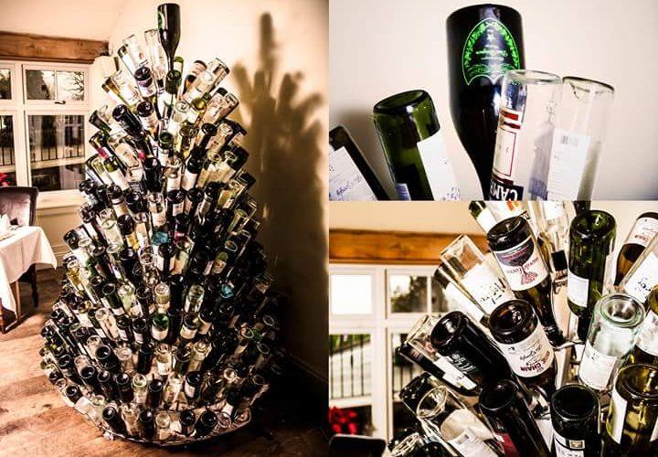 custom built stainless steel wine bottle christmas tree